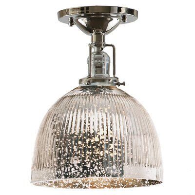 Edgar 1-Light Antique Mercury Glass Semi Flush Mount Finish: Polished Nickel