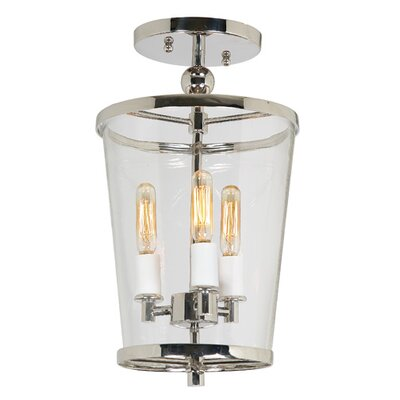 Charleston 3-Light Semi Flush Mount Finish: Polished Nickel, Size: Small