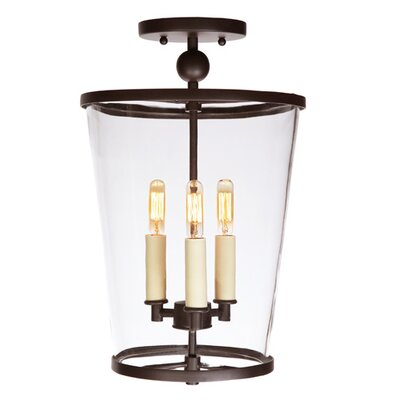 Charleston 3-Light Semi Flush Mount Finish: Oil Rubbed Bronze, Size: Medium