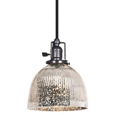 Edgar 1-Light Bowl Glass Mini Pendant Finish: Gun Metal