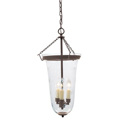 3-Light Large Elongated Bell Jar Foyer Pendant with Star Glass Finish: Oil Rubbed Bronze