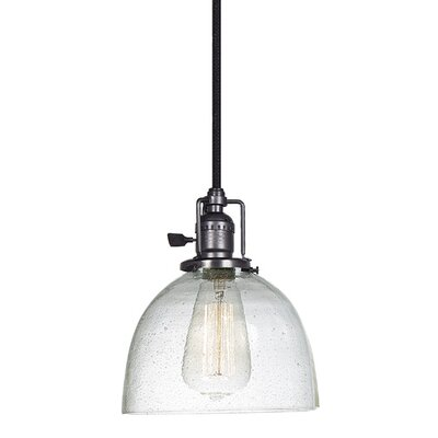 Edgar 1-Light Empire Mini Pendant Finish: Gun Metal, Shade Color: Clear