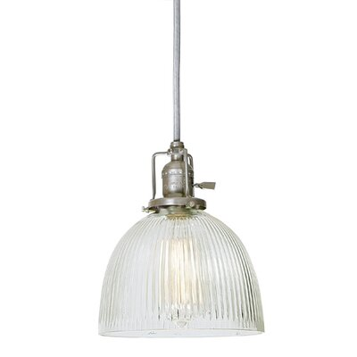 Edgar Contemporary 1-Light Ribbed Glass Mini Pendant Finish: Pewter