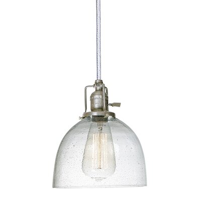 Edgar 1-Light Seeded Blown Glass Mini Pendant Shade Color: Clear, Finish: Pewter