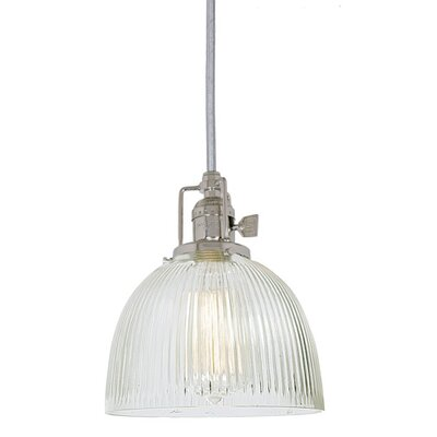 Edgar 1-Light Ribbed Mouth Blown Glass Mini Pendant Finish: Polished Nickel