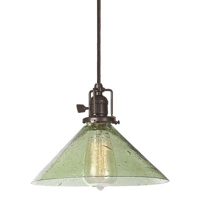 Edgar 1-Light Seeded Glass Mini Pendant Finish: Oil Rubbed Bronze, Shade Color: Lime