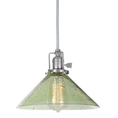 Edgar 1-Light Seeded Glass Mini Pendant Finish: Pewter, Shade Color: Lime