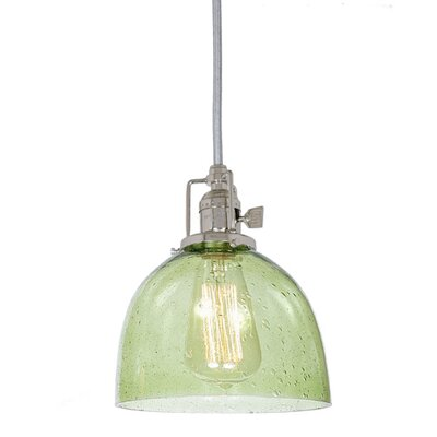 Edgar 1-Light Seeded Blown Glass Mini Pendant Finish: Polished Nickel, Shade Color: Lime