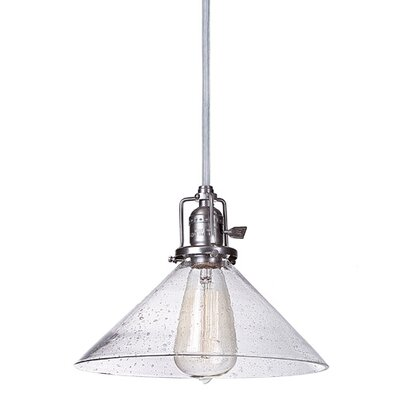 Edgar 1-Light Cone Seeded Blown Glass Mini Pendant Shade Color: Clear, Finish: Pewter