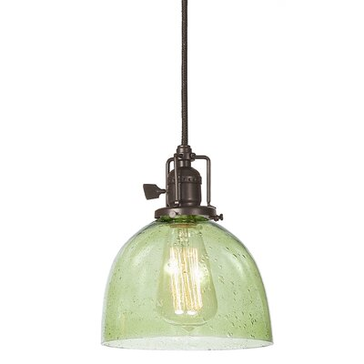 Edgar 1-Light Seeded Blown Glass Mini Pendant Finish: Oil Rubbed Bronze, Shade Color: Lime