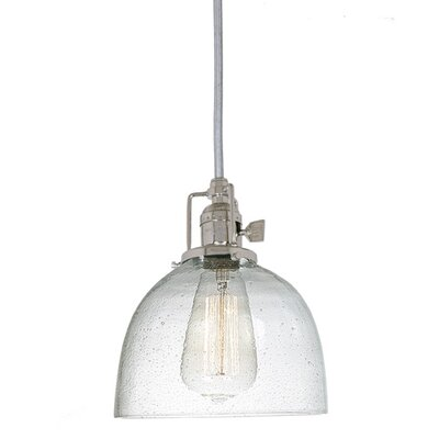 Edgar 1-Light Seeded Blown Glass Mini Pendant Finish: Polished Nickel, Shade Color: Clear