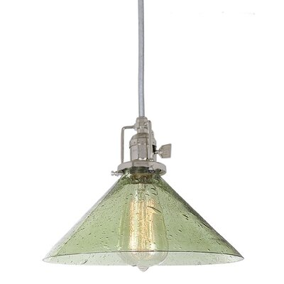 Edgar 1-Light Seeded Glass Mini Pendant Finish: Polished Nickel, Shade Color: Lime