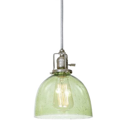 Edgar 1-Light Seeded Blown Glass Mini Pendant Finish: Pewter, Shade Color: Lime