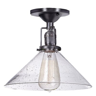 Edgar 1-Light Bubble Glass Semi-Flush Mount Finish: Pewter, Shade Color: Lime