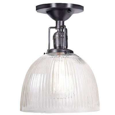Edgar 1-Light White Ribbed Glass Semi-Flush Mount Finish: Gun Metal