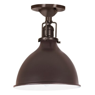 Edgar 1-Light Metal Semi-Flush Mount Finish: Oil Rubbed Bronze