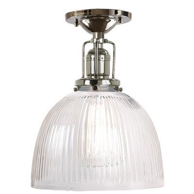 Edgar 1-Light White Ribbed Glass Semi-Flush Mount Finish: Polished Nickel