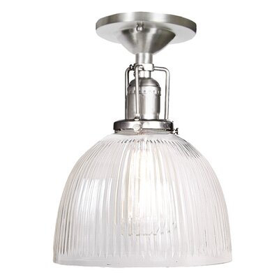 Edgar 1-Light White Ribbed Glass Semi-Flush Mount Finish: Pewter