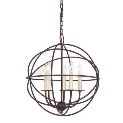 Globe 5-Light Globe Pendant Finish: Rust