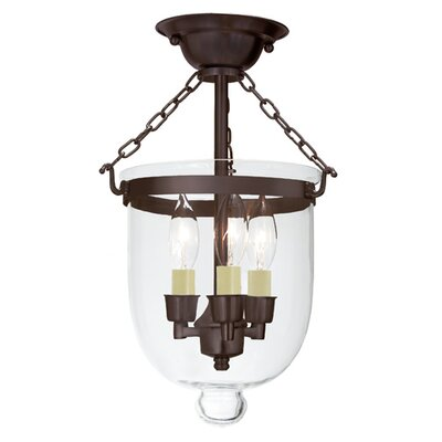 3-Light Small Bell Jar Semi Flush Mount Finish: Oil Rubbed Bronze