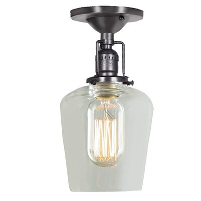 Edgar 1-Light Mouth Blown Glass Semi Flush Mount Finish: Gun Metal