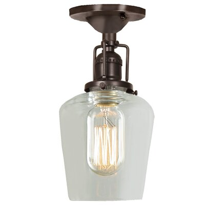 Edgar 1-Light Mouth Blown Glass Semi Flush Mount Finish: Oil Rubbed Bronze