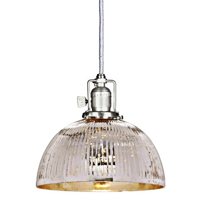 Edgar 1-Light Mini Pendant Finish: Pewter, Shade Color: Antique Mercury
