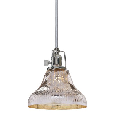 Edgar Bell 1-Light Mini Pendant Finish: Pewter, Shade Color: Antique Mercury