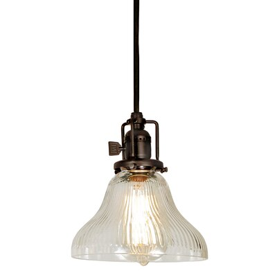 Edgar Bell 1-Light Mini Pendant Finish: Oil Rubbed Bronze, Shade Color: Clear