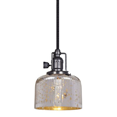 Edgar 1-Light Mini Pendant Finish: Polished Nickel, Shade Color: Antique Mercury
