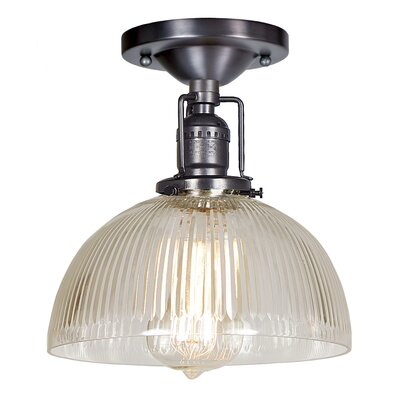 Edgar 1-Light Semi Flush Mount Finish: Gun Metal