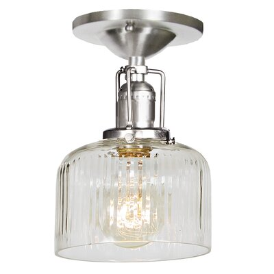 Edgar 1-Light Semi Flush Mount Finish: Pewter