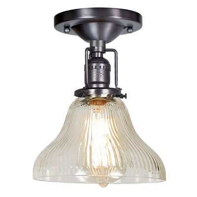 Edgar Bell 1-Light Semi Flush Mount Finish: Gun Metal