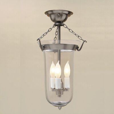 3-Light Bell Jar Elongated Semi Flush Mount Finish: Oil Rubbed Bronze
