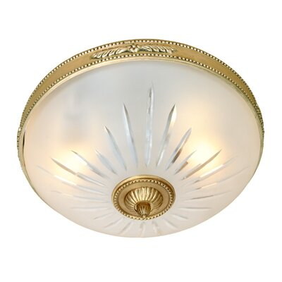 3-Light Rope and Arrow Flush Mount Finish: Rubbed brass