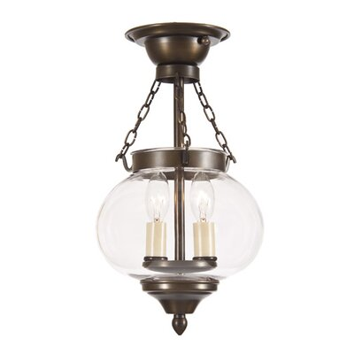 Classic Onions 2-Light Small Semi Flush Mount Finish: Weathered Bronze