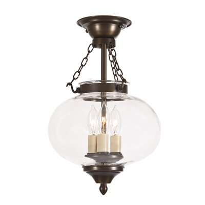 Classic Onions 3-Light Medium Semi Flush Mount Finish: Oil Rubbed Bronze