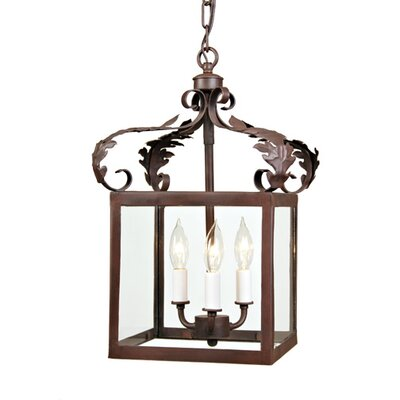 3-Light Small Scroll Foyer Pendant Finish: Rust