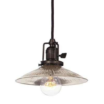 Edgar 1-Light Ribbed Glass Mini Pendant Finish: Oil Rubbed Bronze