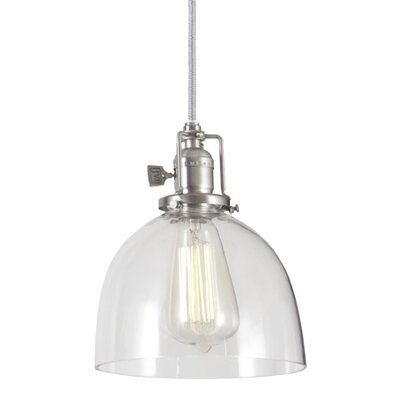 Edgar Contemporary 1-Light Bowl Glass Mini Pendant Finish: Pewter