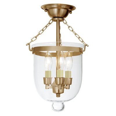 3-Light Small Bell Jar Semi Flush Mount Finish: Rubbed brass