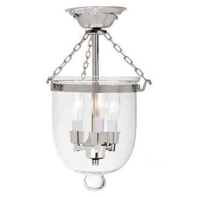 3-Light Small Bell Jar Semi Flush Mount Finish: Pewter
