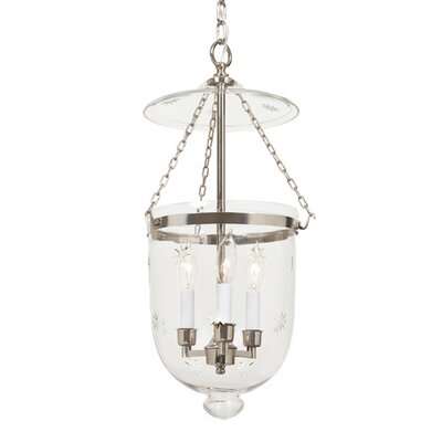 3-Light Medium Bell Jar Foyer Pendant with Star Glass Finish: Polished Nickel
