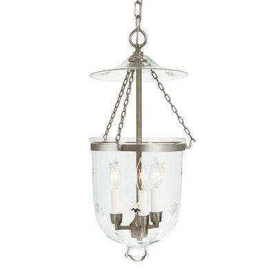 3-Light Medium Bell Jar Foyer Pendant with Star Glass Finish: Pewter