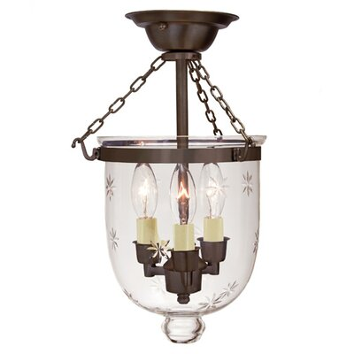 3-Light Small Bell Jar Semi Flush Mount with Star Glass Finish: Oil Rubbed Bronze