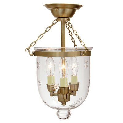 3-Light Small Bell Jar Semi Flush Mount with Star Glass Finish: Rubbed brass