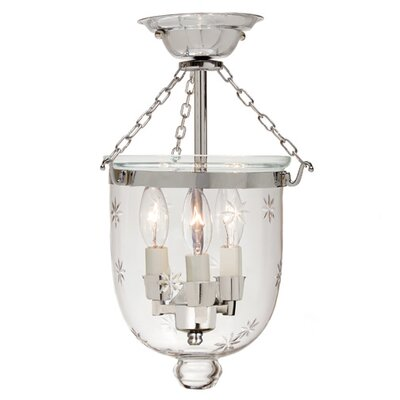 3-Light Small Bell Jar Semi Flush Mount with Star Glass Finish: Polished Nickel