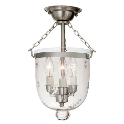 3-Light Small Bell Jar Semi Flush Mount with Star Glass Finish: Pewter