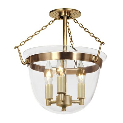 3-Light Small Bell Foyer Pendant Finish: Rubbed brass