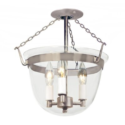 3-Light Small Bell Foyer Pendant Finish: Pewter